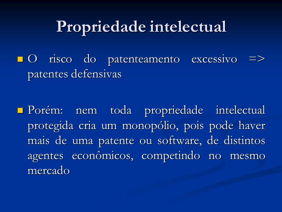 Propriedade intelectual O risco do patenteamento excessivo => patentes defensivas O risco do patenteamento excessivo => patentes defensivas Porém: nem