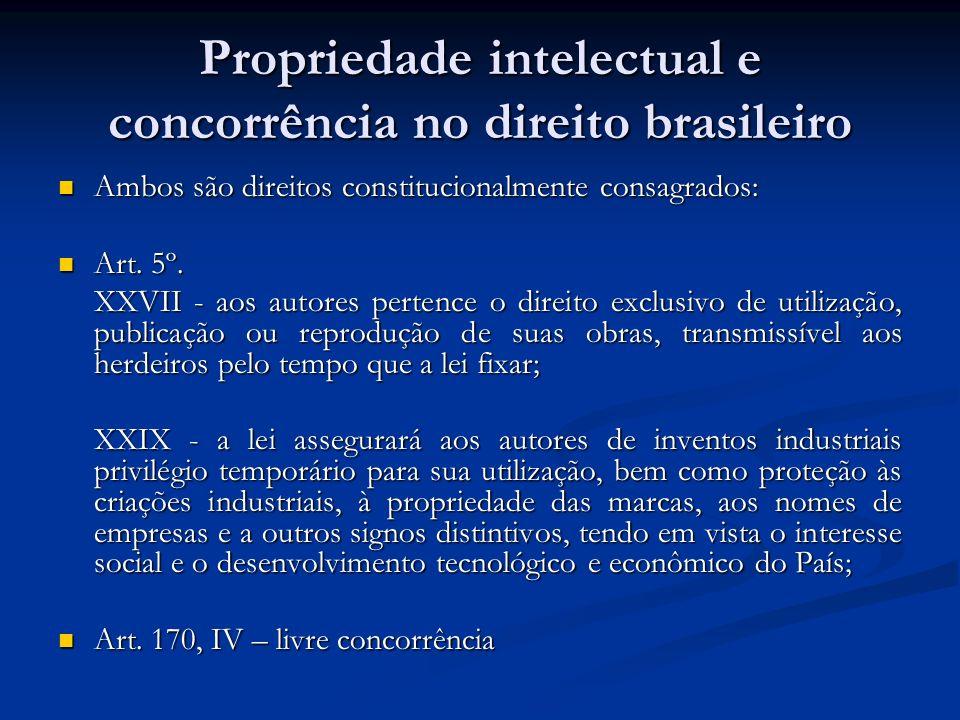 Propriedade intelectual e concorrência no direito brasileiro Ambos são direitos constitucionalmente consagrados: Ambos são direitos constitucionalment