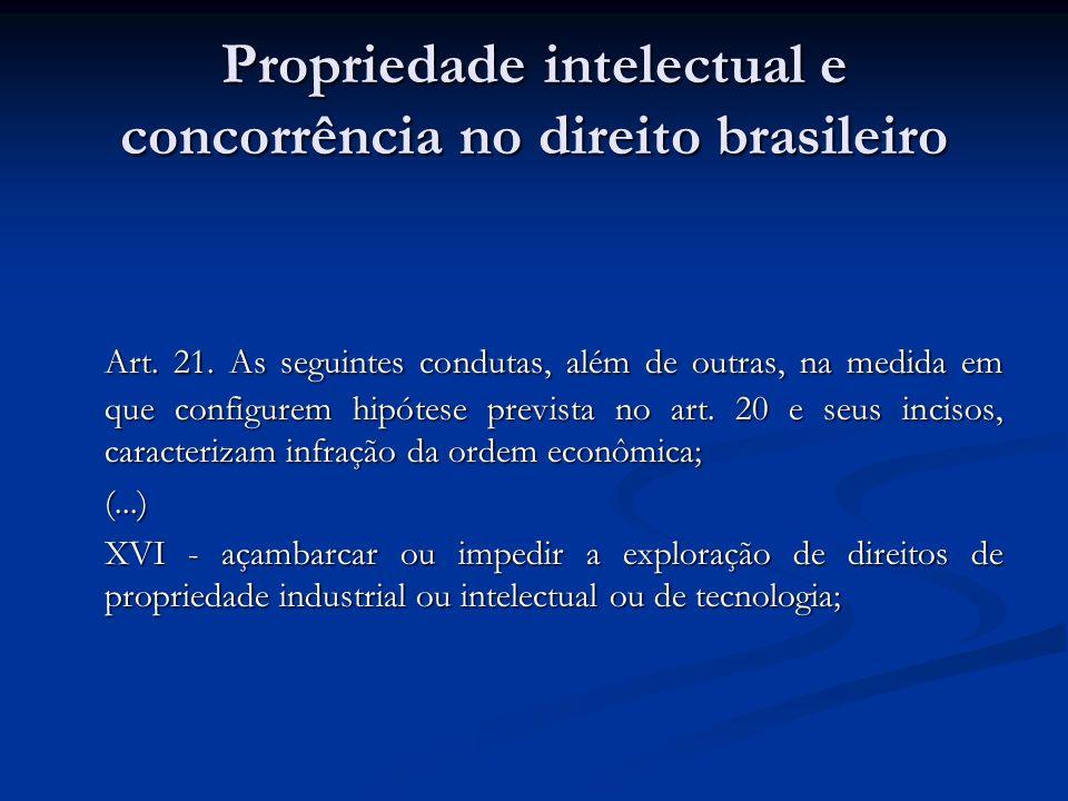 Propriedade intelectual e concorrência no direito brasileiro Art. 21. As seguintes condutas, além de outras, na medida em que configurem hipótese prev