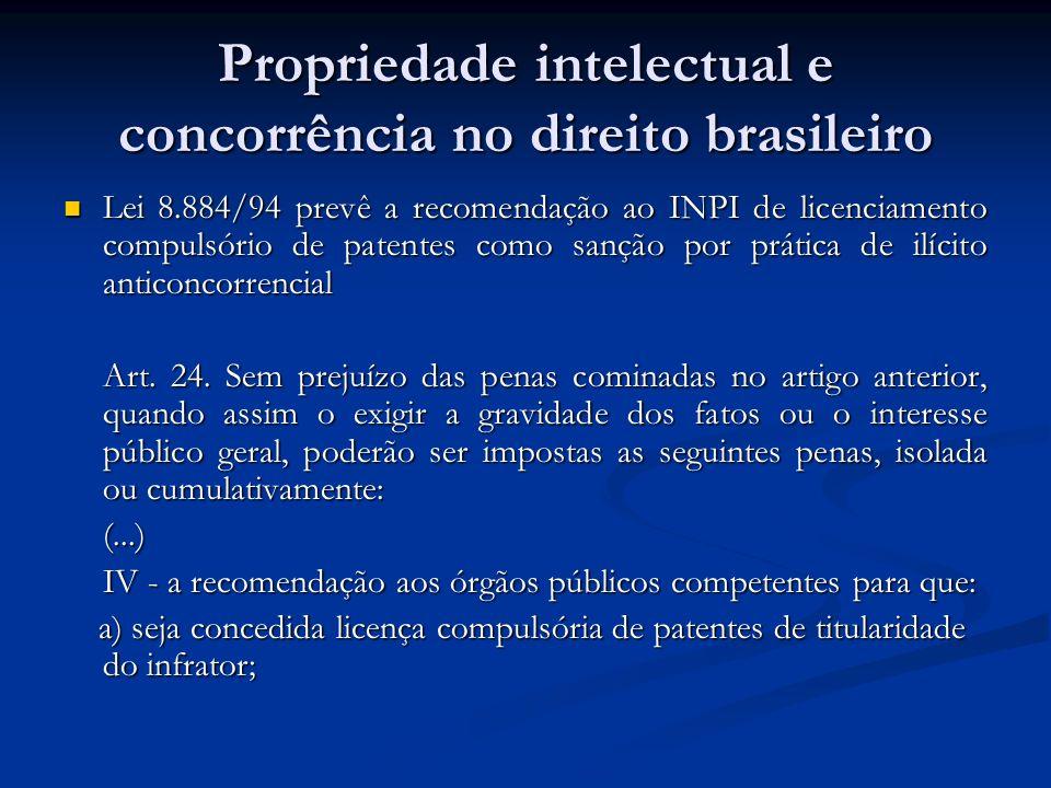 Propriedade intelectual e concorrência no direito brasileiro Lei 8.884/94 prevê a recomendação ao INPI de licenciamento compulsório de patentes como s