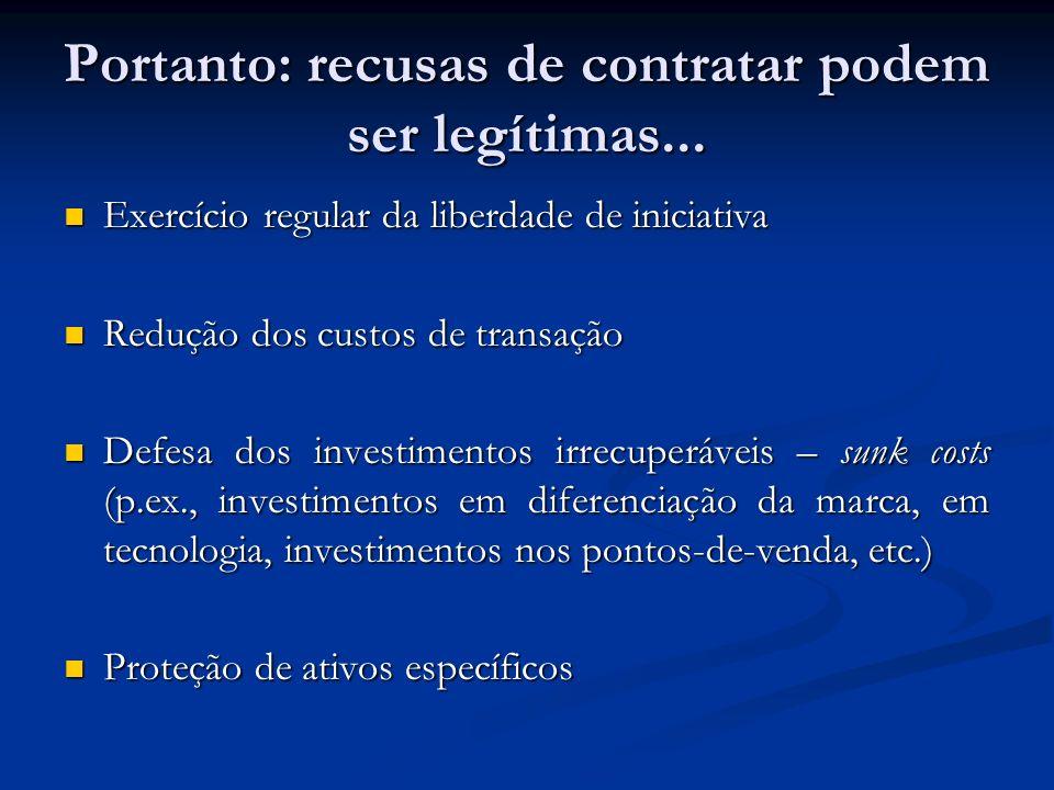 Portanto: recusas de contratar podem ser legítimas... Exercício regular da liberdade de iniciativa Exercício regular da liberdade de iniciativa Reduçã