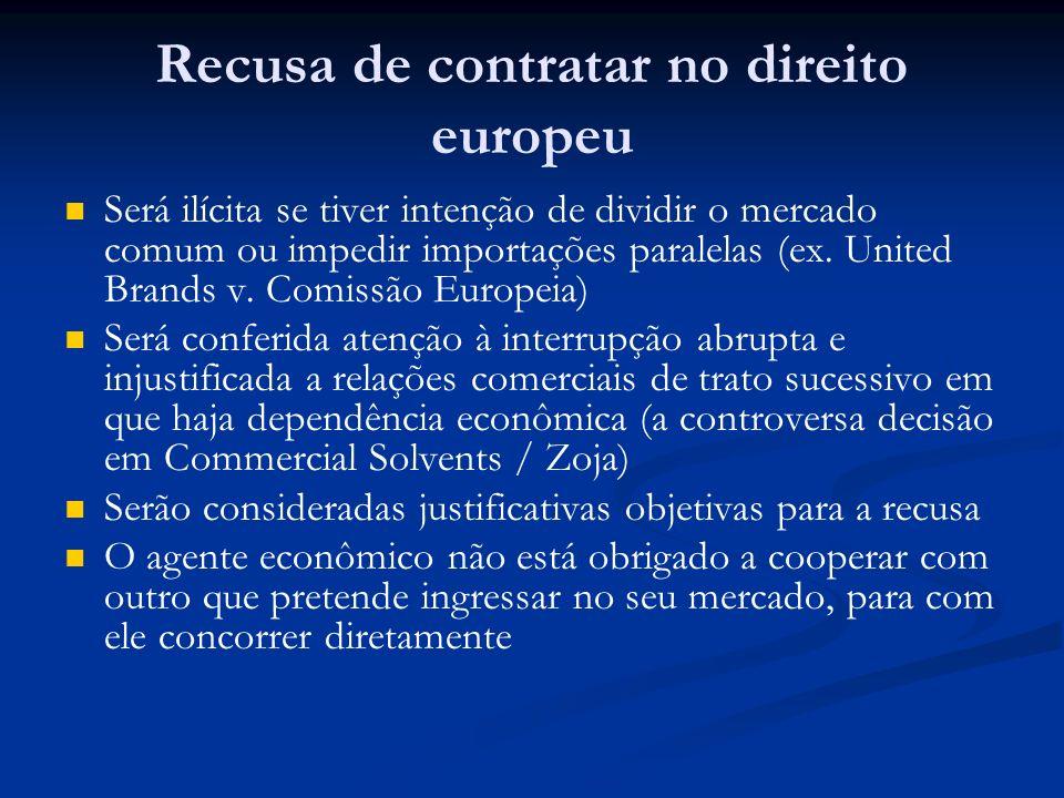 Recusa de contratar no direito europeu Será ilícita se tiver intenção de dividir o mercado comum ou impedir importações paralelas (ex. United Brands v