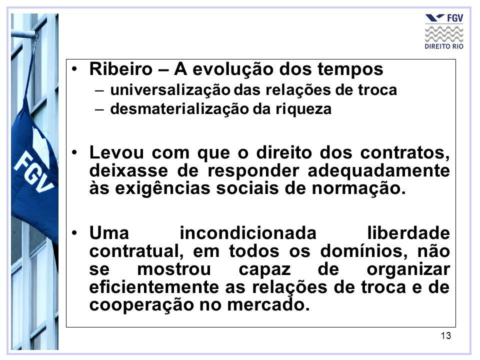 13 Ribeiro – A evolução dos tempos –universalização das relações de troca –desmaterialização da riqueza Levou com que o direito dos contratos, deixass