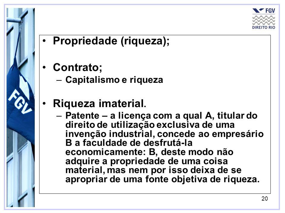20 Propriedade (riqueza); Contrato; –Capitalismo e riqueza Riqueza imaterial. –Patente – a licença com a qual A, titular do direito de utilização excl