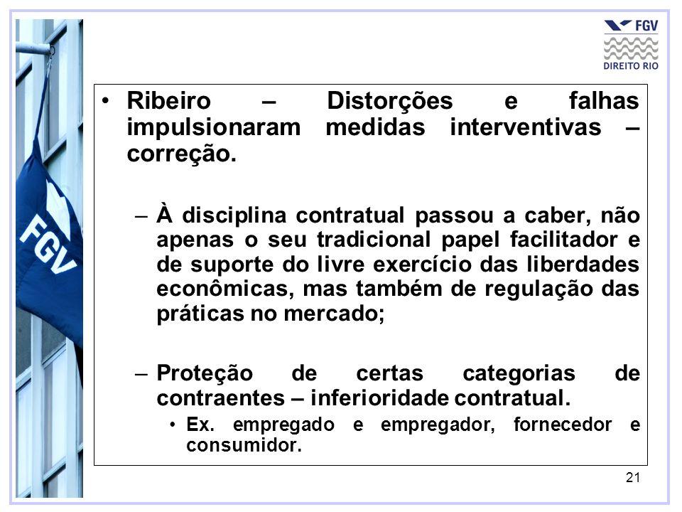 21 Ribeiro – Distorções e falhas impulsionaram medidas interventivas – correção. –À disciplina contratual passou a caber, não apenas o seu tradicional