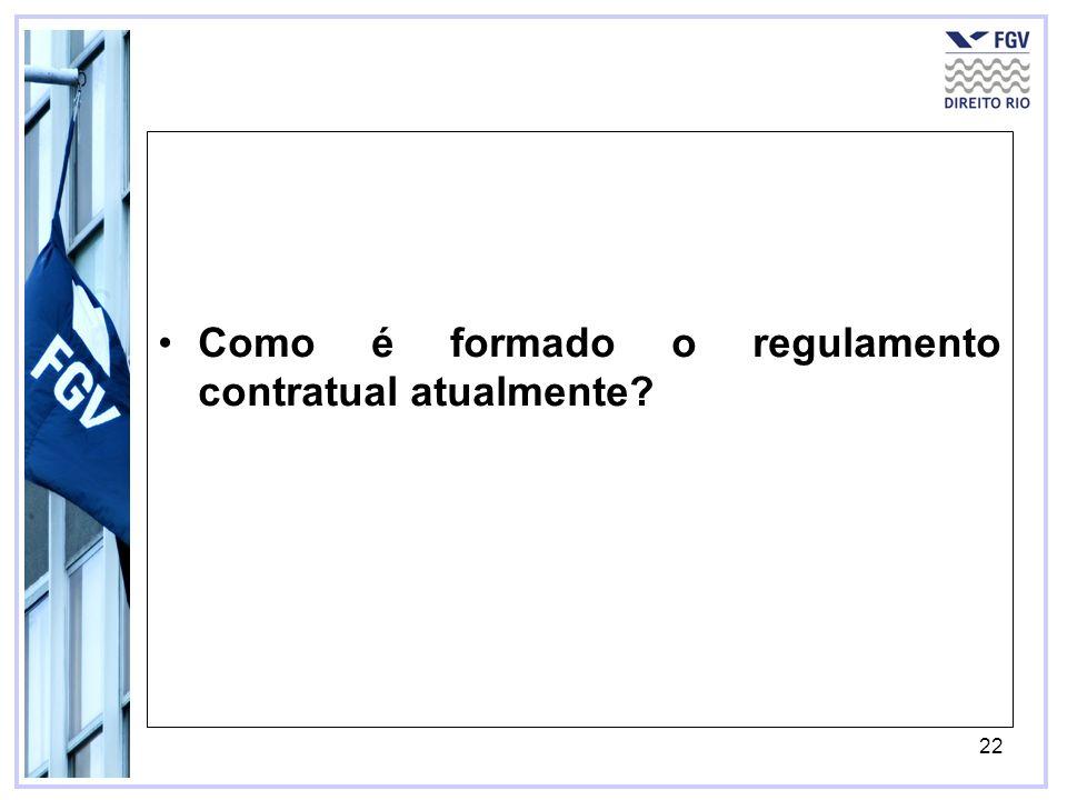 22 Como é formado o regulamento contratual atualmente?