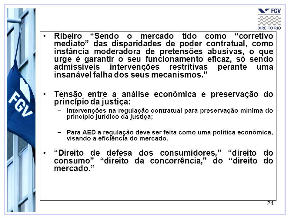 24 Ribeiro Sendo o mercado tido como corretivo mediato das disparidades de poder contratual, como instância moderadora de pretensões abusivas, o que u