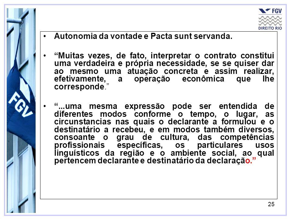 25 Autonomia da vontade e Pacta sunt servanda. Muitas vezes, de fato, interpretar o contrato constitui uma verdadeira e própria necessidade, se se qui