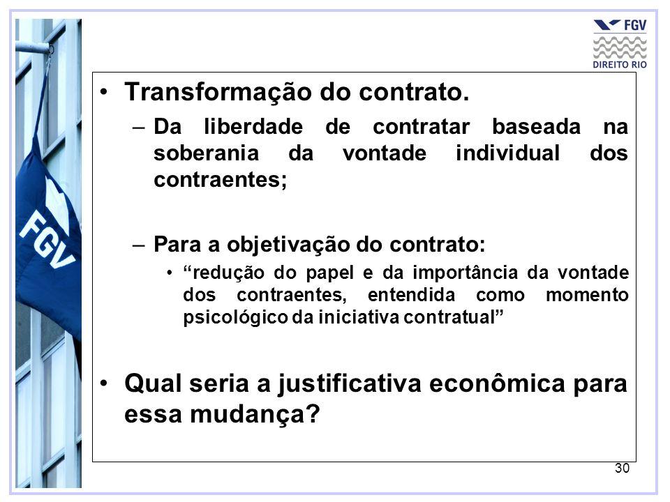 30 Transformação do contrato. –Da liberdade de contratar baseada na soberania da vontade individual dos contraentes; –Para a objetivação do contrato:
