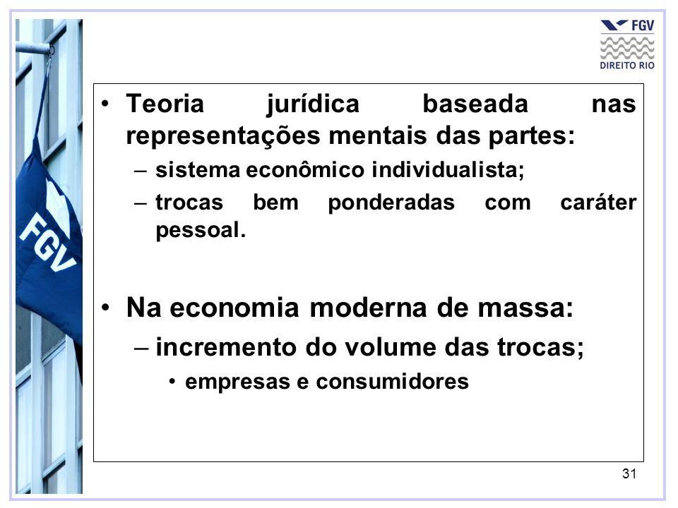 31 Teoria jurídica baseada nas representações mentais das partes: –sistema econômico individualista; –trocas bem ponderadas com caráter pessoal. Na ec