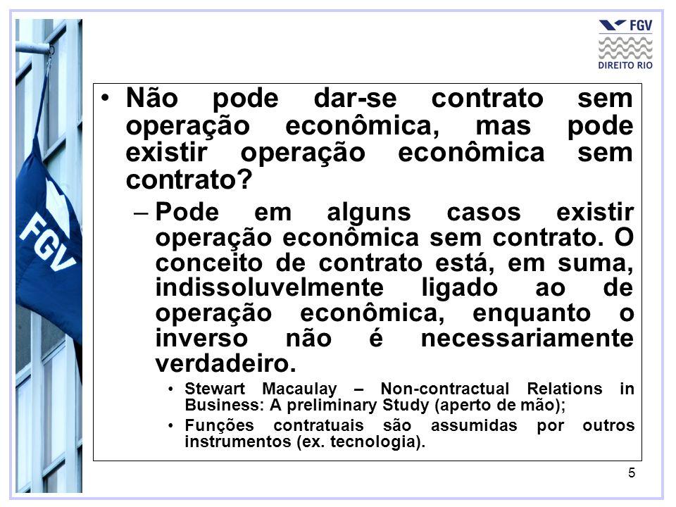 5 Não pode dar-se contrato sem operação econômica, mas pode existir operação econômica sem contrato? –Pode em alguns casos existir operação econômica