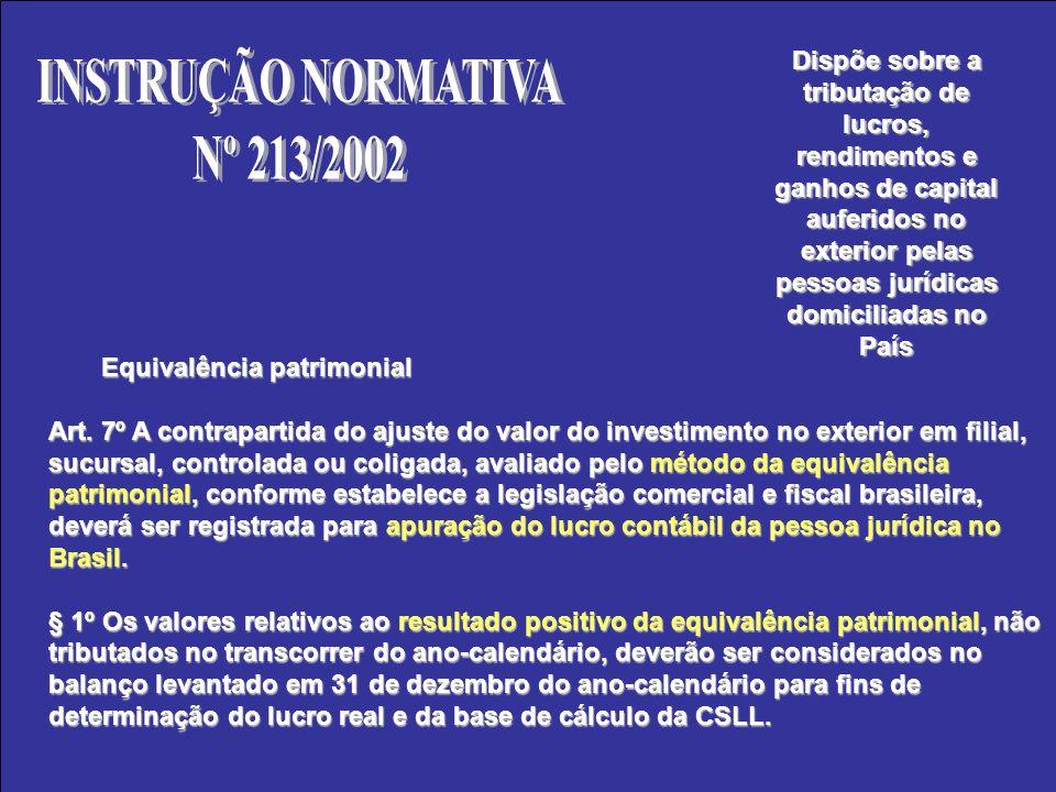 Equivalência patrimonial Art. 7º A contrapartida do ajuste do valor do investimento no exterior em filial, sucursal, controlada ou coligada, avaliado