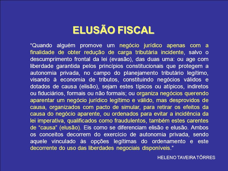 ELUSÃO FISCAL ELUSÃO FISCAL Quando alguém promove um negócio jurídico apenas com a finalidade de obter redução de carga tributária incidente, salvo o