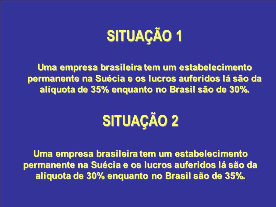 SITUAÇÃO 1 Uma empresa brasileira tem um estabelecimento permanente na Suécia e os lucros auferidos lá são da alíquota de 35% enquanto no Brasil são d