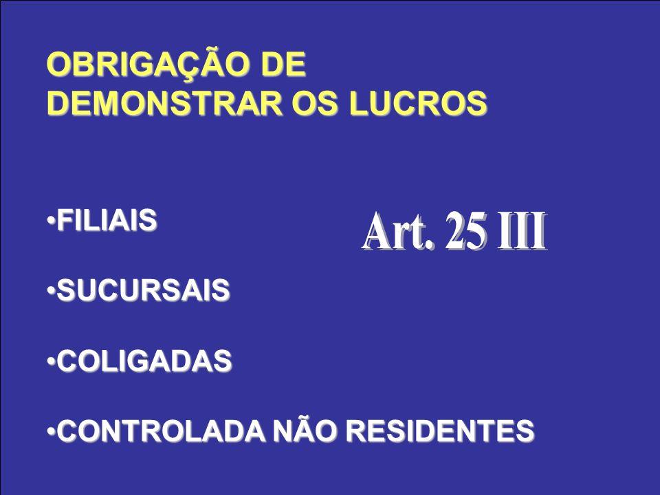 OBRIGAÇÃO DE DEMONSTRAR OS LUCROS FILIAISFILIAIS SUCURSAISSUCURSAIS COLIGADASCOLIGADAS CONTROLADA NÃO RESIDENTESCONTROLADA NÃO RESIDENTES