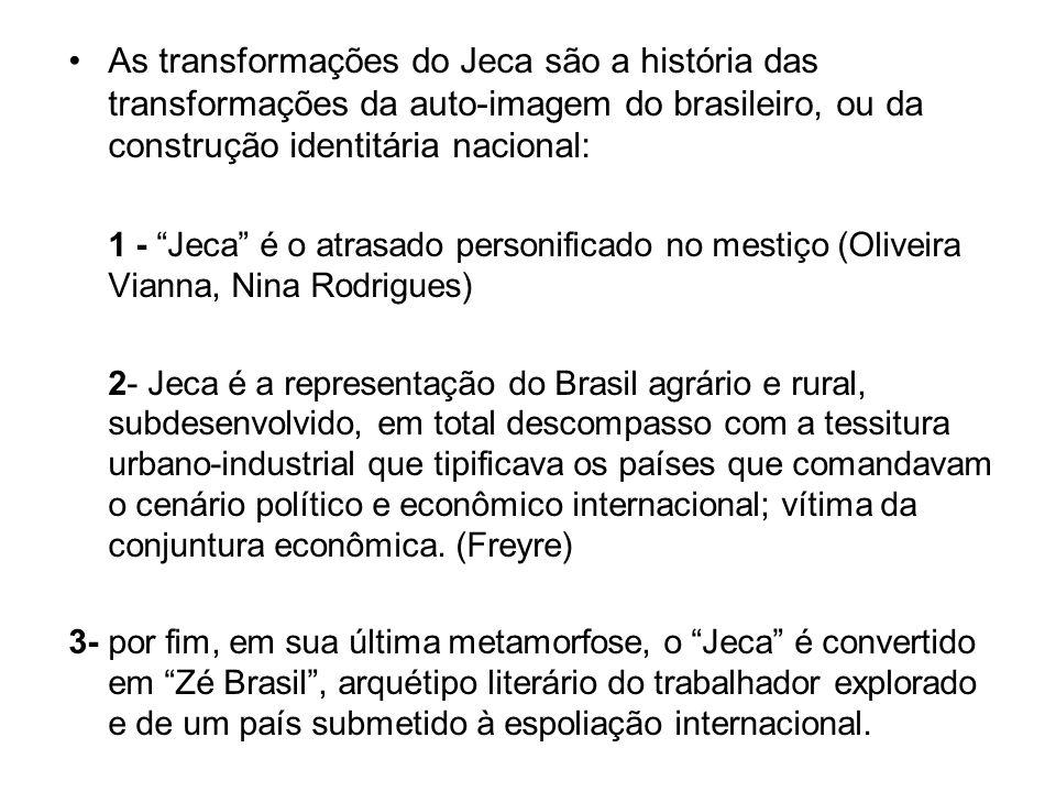 As transformações do Jeca são a história das transformações da auto-imagem do brasileiro, ou da construção identitária nacional: 1 - Jeca é o atrasado