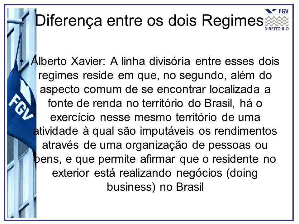 Diferença entre os dois Regimes Alberto Xavier: A linha divisória entre esses dois regimes reside em que, no segundo, além do aspecto comum de se enco