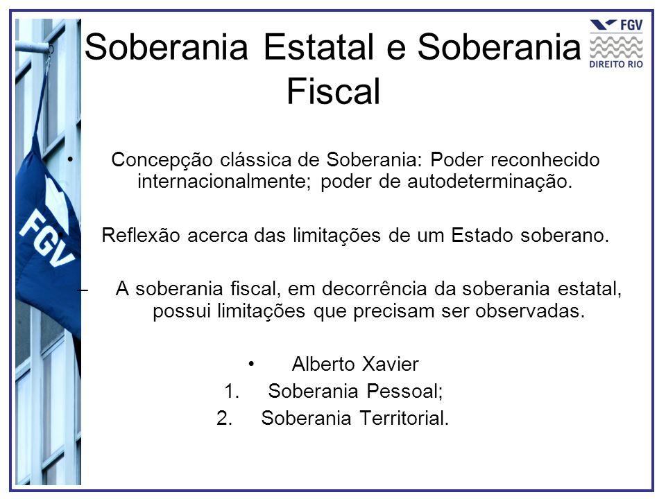 Soberania Estatal e Soberania Fiscal Concepção clássica de Soberania: Poder reconhecido internacionalmente; poder de autodeterminação. Reflexão acerca