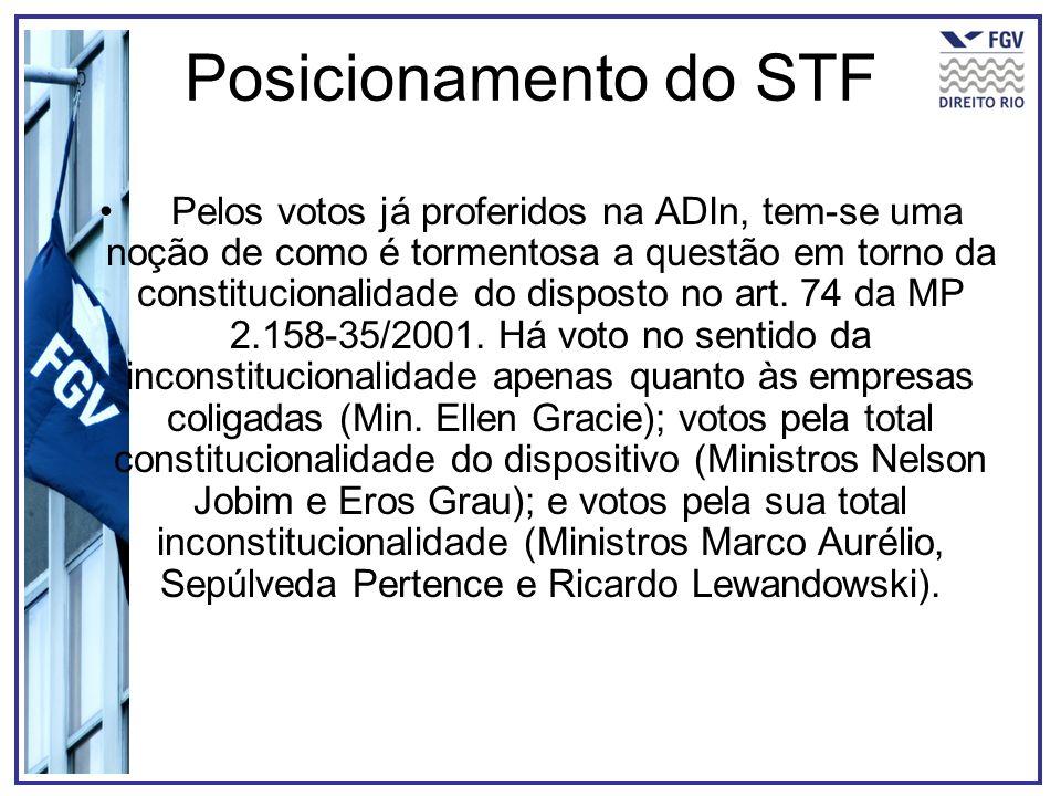 Posicionamento do STF Pelos votos já proferidos na ADIn, tem-se uma noção de como é tormentosa a questão em torno da constitucionalidade do disposto n