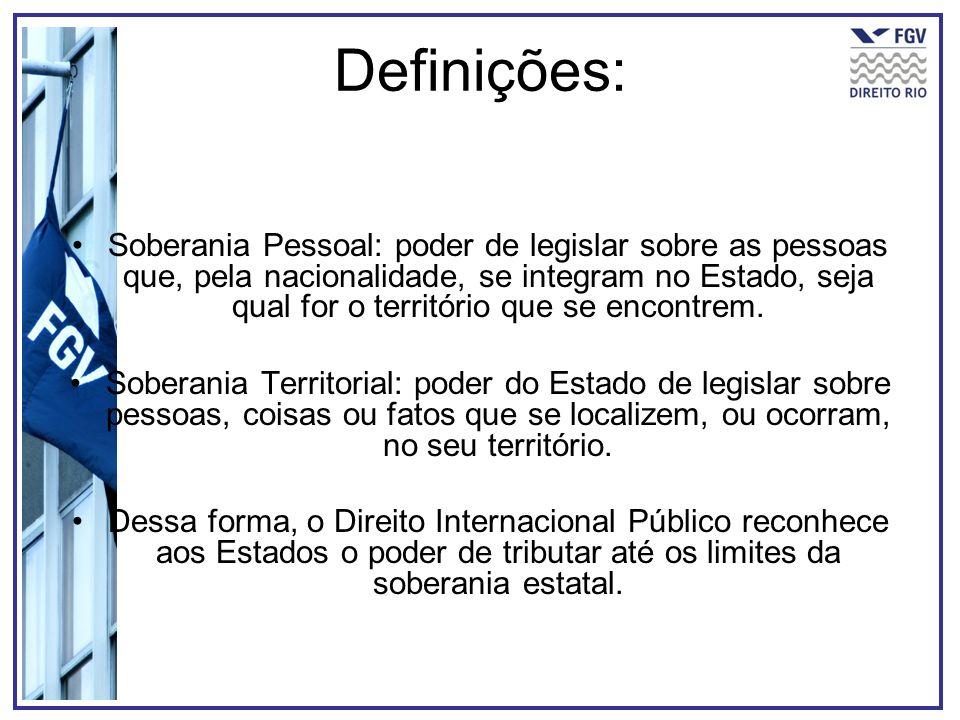 Definições: Soberania Pessoal: poder de legislar sobre as pessoas que, pela nacionalidade, se integram no Estado, seja qual for o território que se en