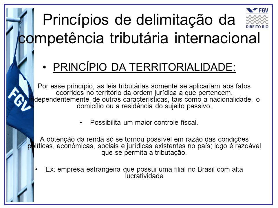 Princípios de delimitação da competência tributária internacional PRINCÍPIO DA TERRITORIALIDADE: Por esse princípio, as leis tributárias somente se ap