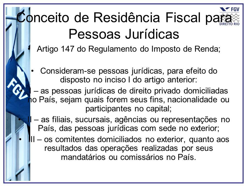 Conceito de Residência Fiscal para Pessoas Jurídicas Artigo 147 do Regulamento do Imposto de Renda; Consideram-se pessoas jurídicas, para efeito do di