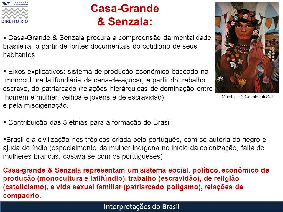 Interpretações do Brasil Mulata – Di Cavalcanti S/d Casa-Grande & Senzala: Casa-Grande & Senzala procura a compreensão da mentalidade brasileira, a pa