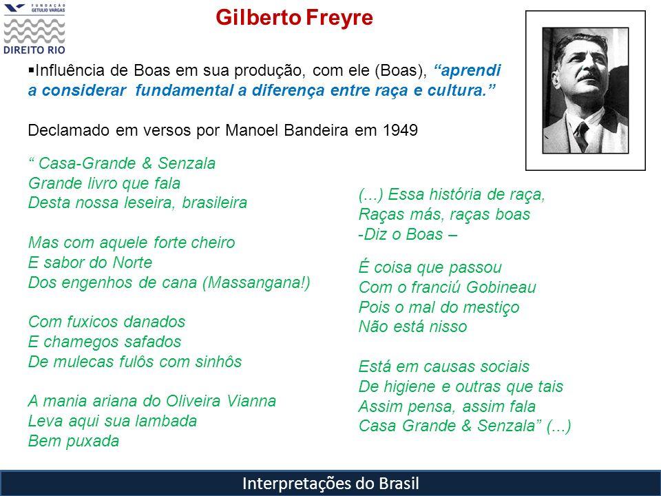 Interpretações do Brasil Gilberto Freyre Influência de Boas em sua produção, com ele (Boas), aprendi a considerar fundamental a diferença entre raça e