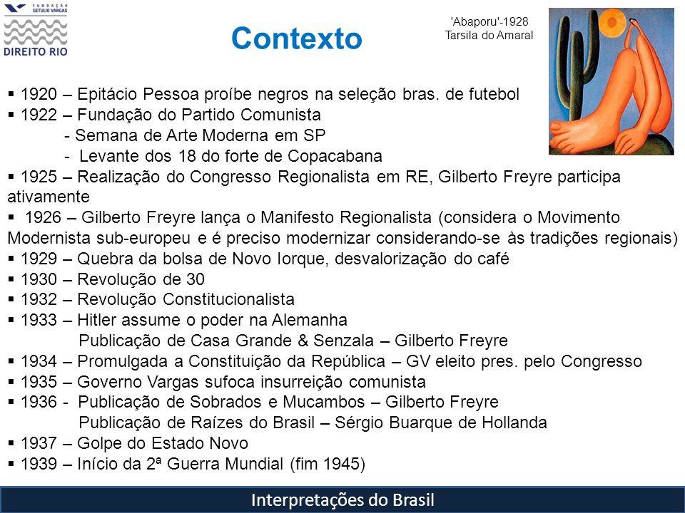 Interpretações do Brasil Contexto 'Abaporu'-1928 Tarsila do Amaral 1920 – Epitácio Pessoa proíbe negros na seleção bras. de futebol 1922 – Fundação do