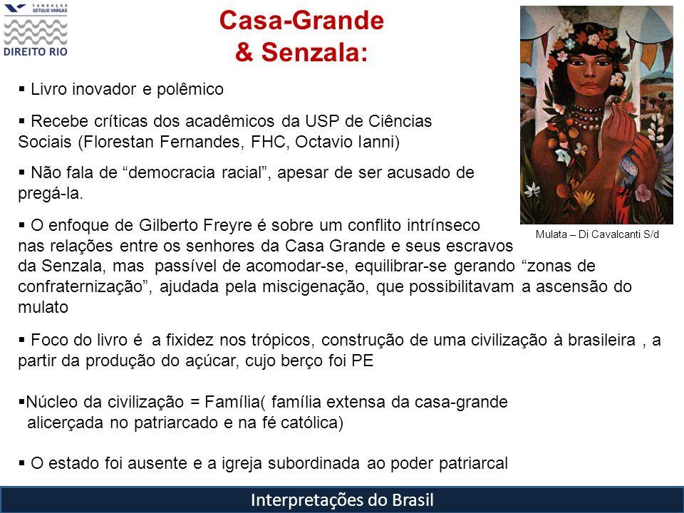 Interpretações do Brasil Mulata – Di Cavalcanti S/d Casa-Grande & Senzala: Livro inovador e polêmico Recebe críticas dos acadêmicos da USP de Ciências