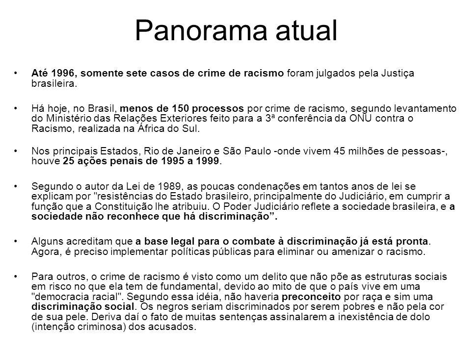 Panorama atual Até 1996, somente sete casos de crime de racismo foram julgados pela Justiça brasileira. Há hoje, no Brasil, menos de 150 processos por