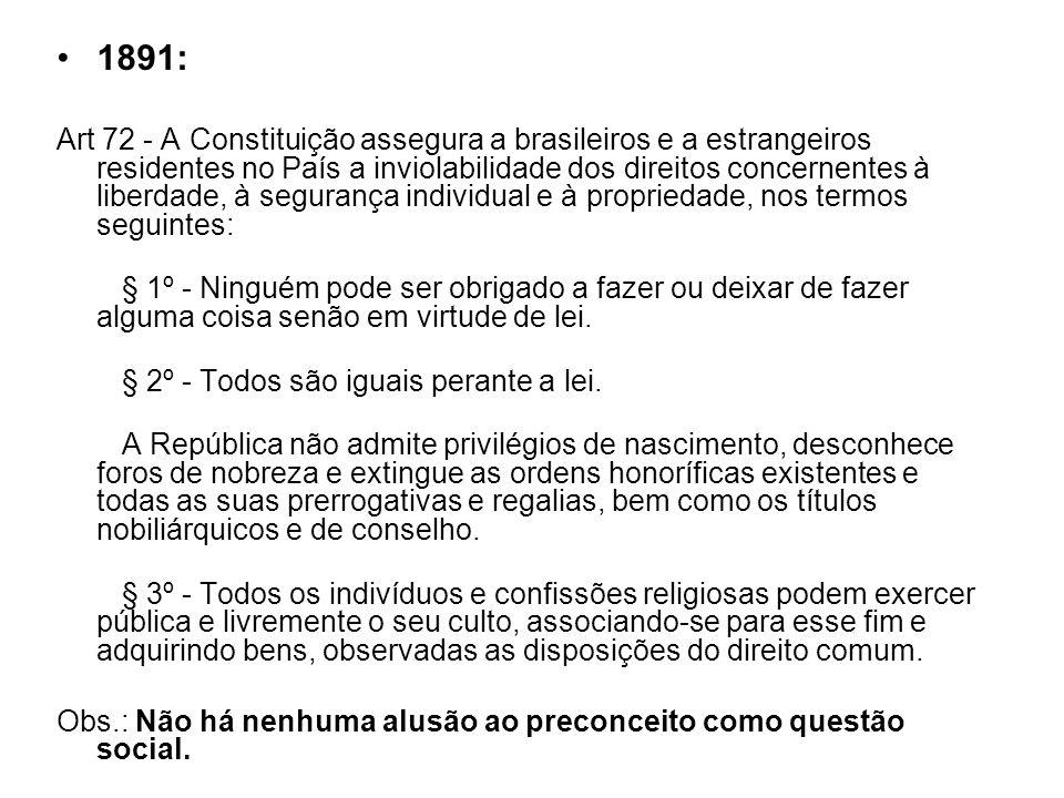 1891: Art 72 - A Constituição assegura a brasileiros e a estrangeiros residentes no País a inviolabilidade dos direitos concernentes à liberdade, à se
