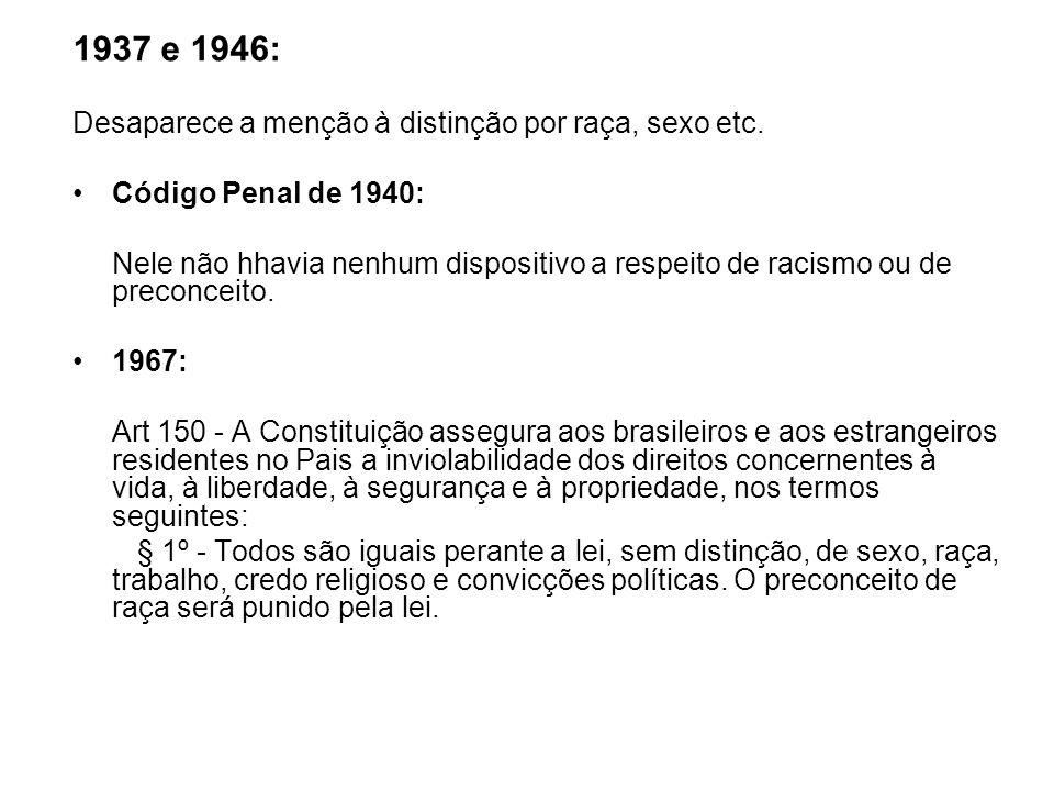 1937 e 1946: Desaparece a menção à distinção por raça, sexo etc. Código Penal de 1940: Nele não hhavia nenhum dispositivo a respeito de racismo ou de