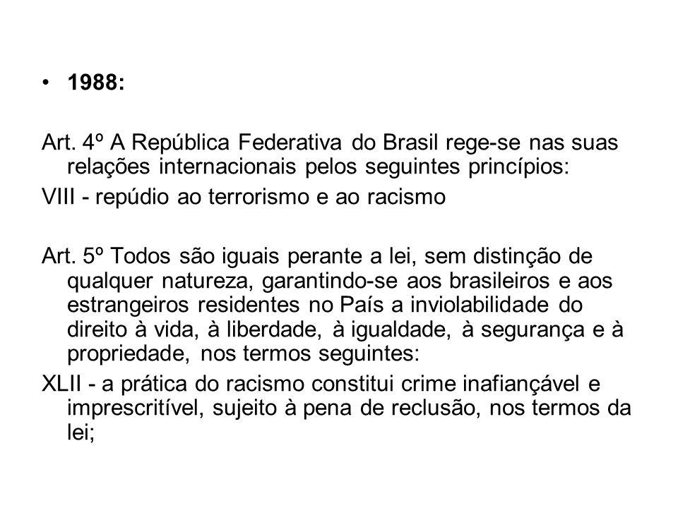 1988: Art. 4º A República Federativa do Brasil rege-se nas suas relações internacionais pelos seguintes princípios: VIII - repúdio ao terrorismo e ao
