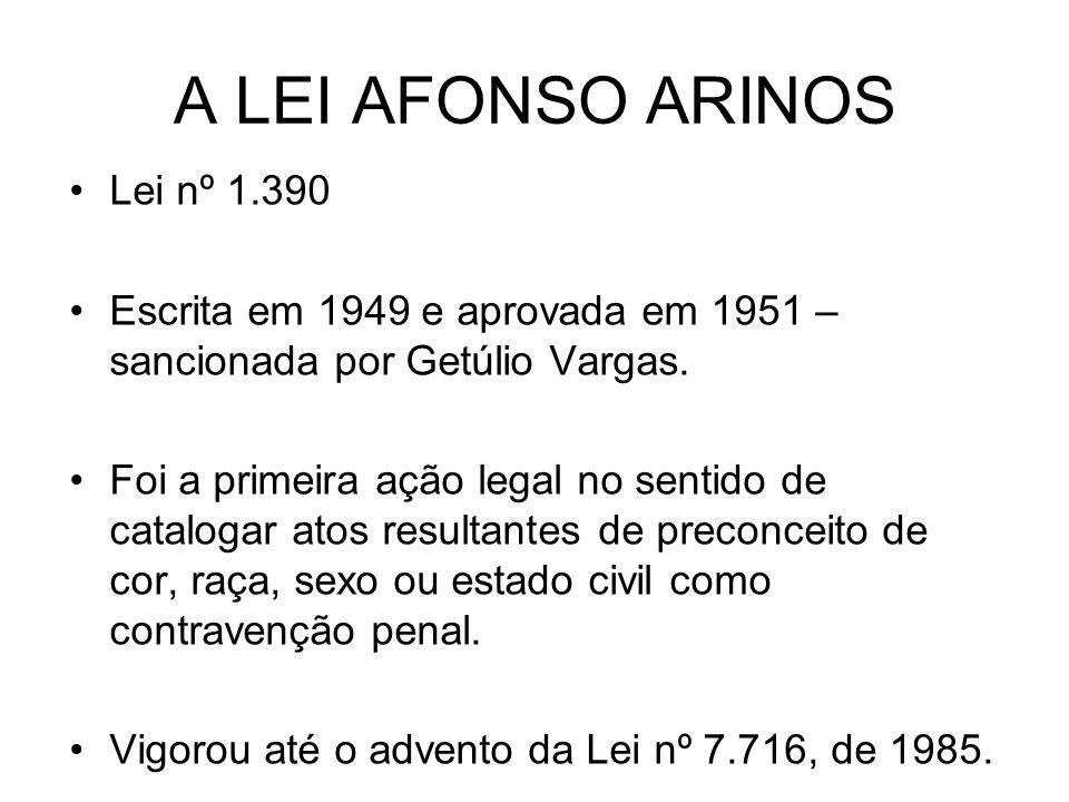 A LEI AFONSO ARINOS Lei nº 1.390 Escrita em 1949 e aprovada em 1951 – sancionada por Getúlio Vargas. Foi a primeira ação legal no sentido de catalogar