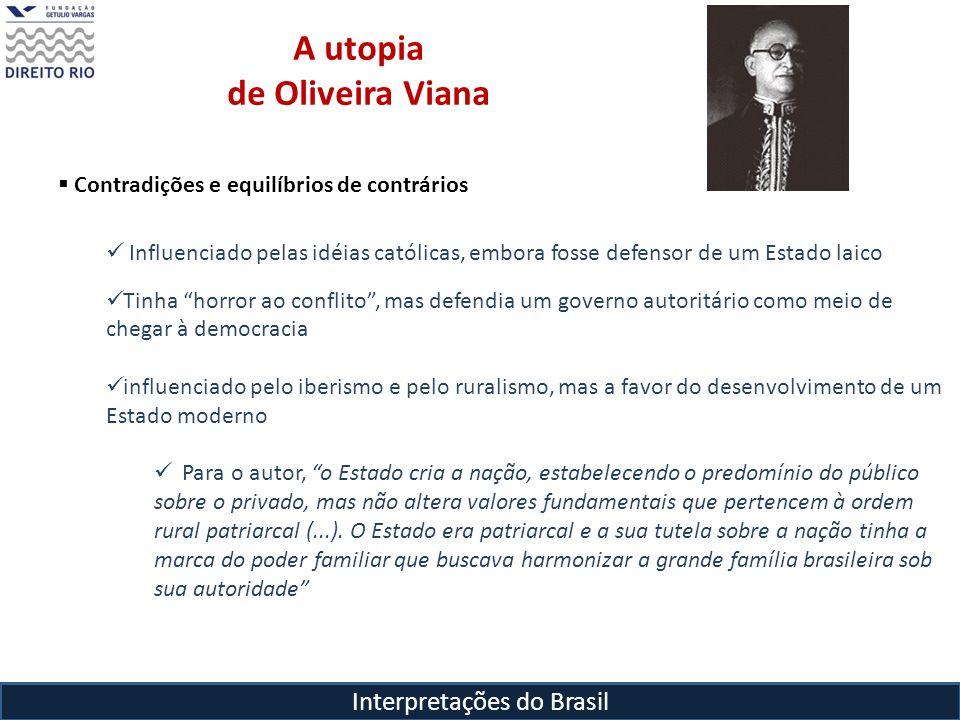 Interpretações do Brasil A utopia de Oliveira Viana Contradições e equilíbrios de contrários Influenciado pelas idéias católicas, embora fosse defenso