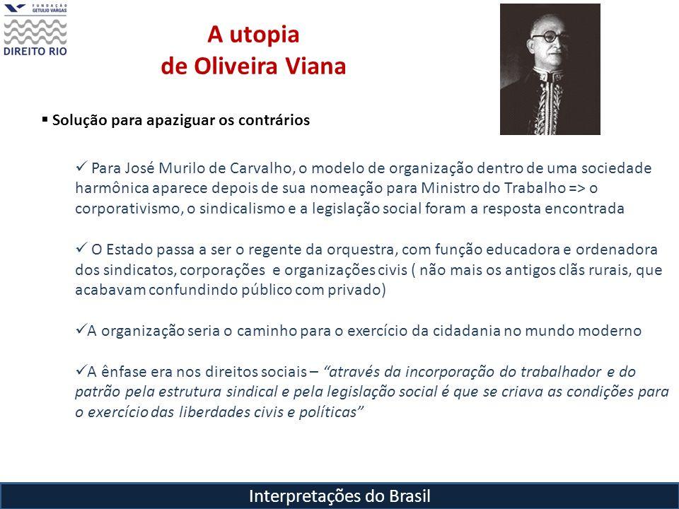Interpretações do Brasil A utopia de Oliveira Viana Solução para apaziguar os contrários Para José Murilo de Carvalho, o modelo de organização dentro