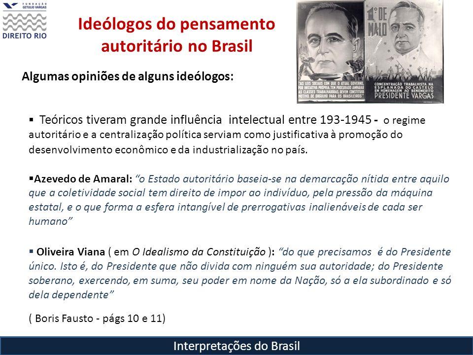 Interpretações do Brasil Ideólogos do pensamento autoritário no Brasil Teóricos tiveram grande influência intelectual entre 193-1945 - o regime autori