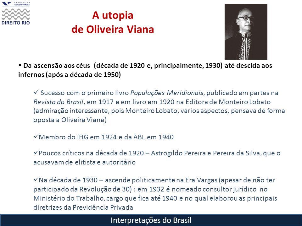Interpretações do Brasil A utopia de Oliveira Viana Da ascensão aos céus (década de 1920 e, principalmente, 1930) até descida aos infernos (após a déc