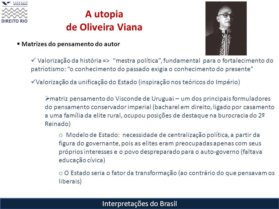 Interpretações do Brasil A utopia de Oliveira Viana Matrizes do pensamento do autor Valorização da história => mestra política, fundamental para o for
