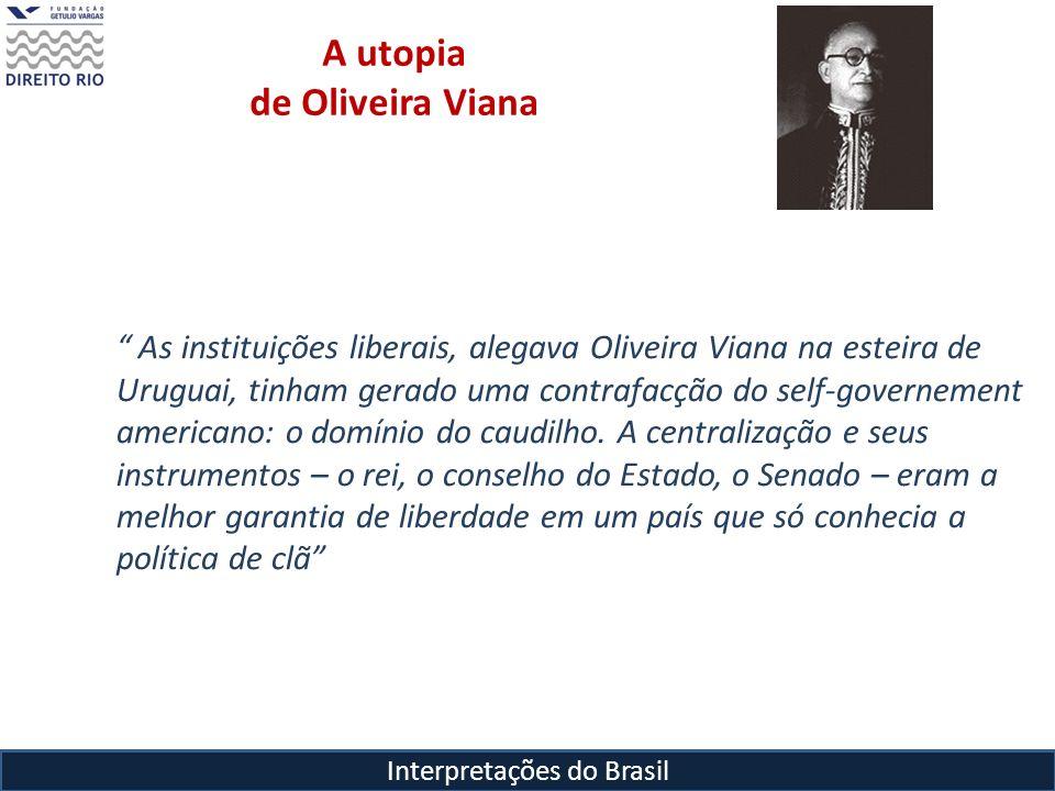 Interpretações do Brasil A utopia de Oliveira Viana As instituições liberais, alegava Oliveira Viana na esteira de Uruguai, tinham gerado uma contrafa