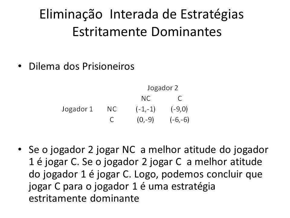 Eliminação Interada de Estratégias Estritamente Dominantes Dilema dos Prisioneiros Se o jogador 2 jogar NC a melhor atitude do jogador 1 é jogar C. Se
