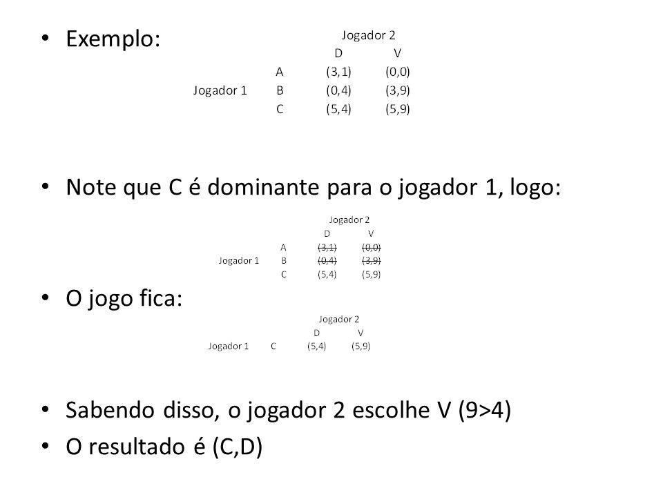 Exemplo: Note que C é dominante para o jogador 1, logo: O jogo fica: Sabendo disso, o jogador 2 escolhe V (9>4) O resultado é (C,D)