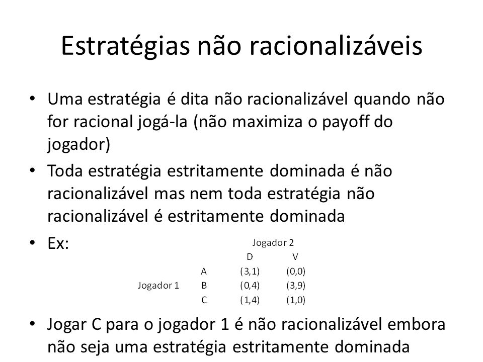 Estratégias não racionalizáveis Uma estratégia é dita não racionalizável quando não for racional jogá-la (não maximiza o payoff do jogador) Toda estra