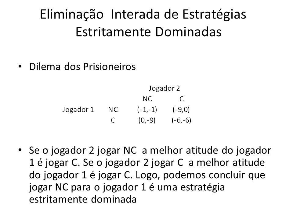 Eliminação Interada de Estratégias Estritamente Dominadas Dilema dos Prisioneiros Se o jogador 2 jogar NC a melhor atitude do jogador 1 é jogar C. Se