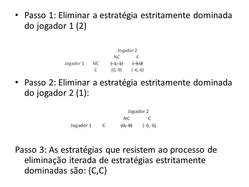 Passo 1: Eliminar a estratégia estritamente dominada do jogador 1 (2) Passo 2: Eliminar a estratégia estritamente dominada do jogador 2 (1): Passo 3: