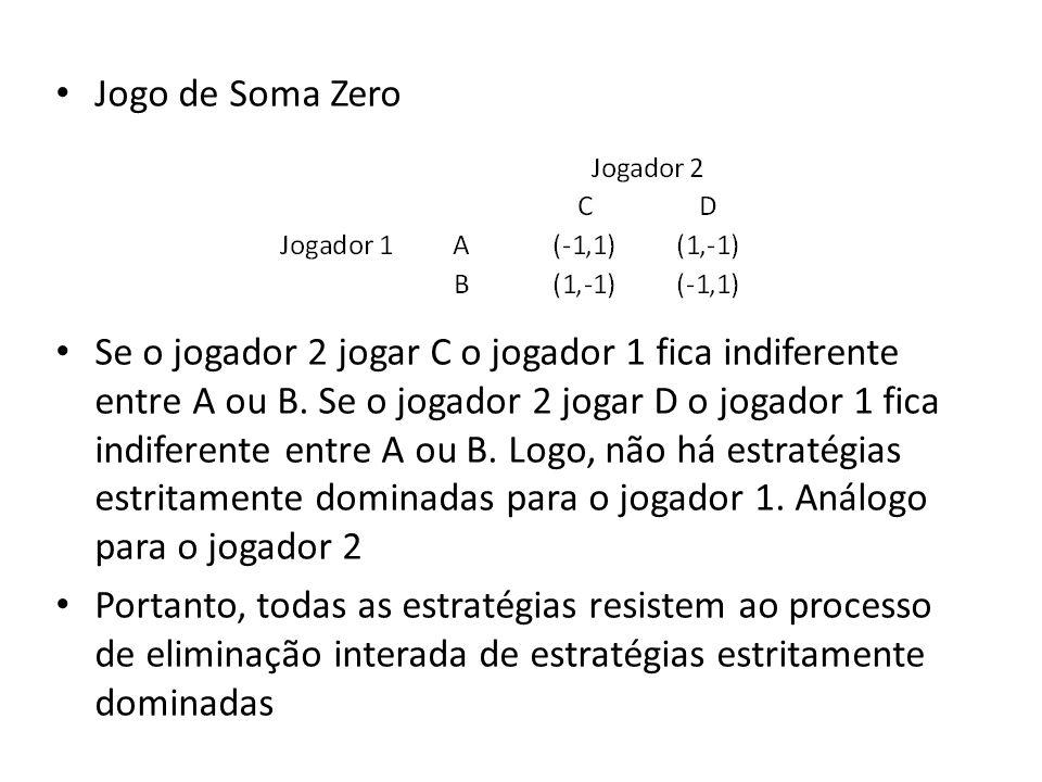Jogo de Soma Zero Se o jogador 2 jogar C o jogador 1 fica indiferente entre A ou B. Se o jogador 2 jogar D o jogador 1 fica indiferente entre A ou B.
