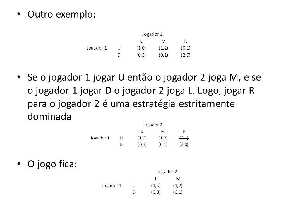 Outro exemplo: Se o jogador 1 jogar U então o jogador 2 joga M, e se o jogador 1 jogar D o jogador 2 joga L. Logo, jogar R para o jogador 2 é uma estr