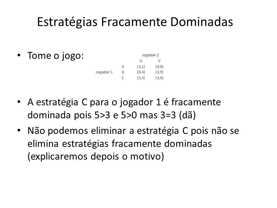 Estratégias Fracamente Dominadas Tome o jogo: A estratégia C para o jogador 1 é fracamente dominada pois 5>3 e 5>0 mas 3=3 (dã) Não podemos eliminar a