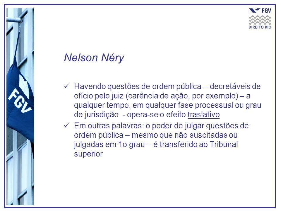 Nelson Néry Havendo questões de ordem pública – decretáveis de ofício pelo juiz (carência de ação, por exemplo) – a qualquer tempo, em qualquer fase p